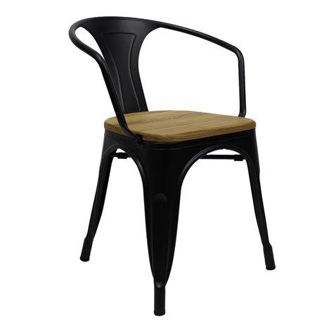 Tolix armchair Zwart met houten zitting