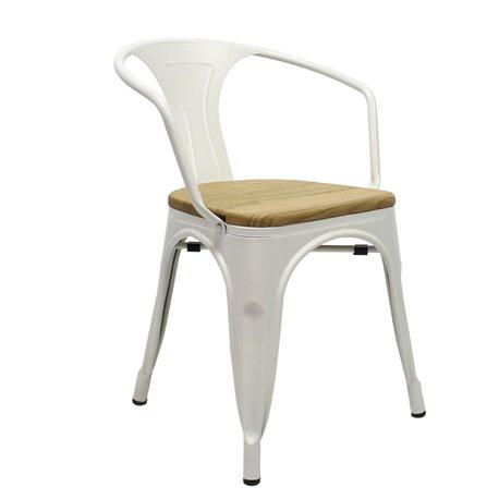 Tolix armchair Wit met houten zitting