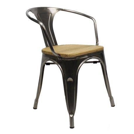 Tolix armchair Metaal met houten zitting