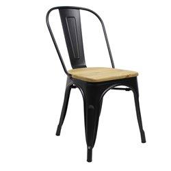 Tolix chair Zwart met houten zitting