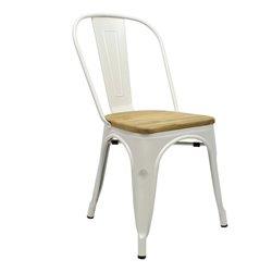 Tolix chair Wit met houten zitting