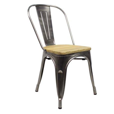 Tolix chair Metaal met houten zitting
