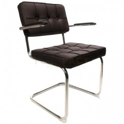 Bauhaus stoel met arm Donkerbruin