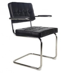 Bauhaus stoel met arm Zwart