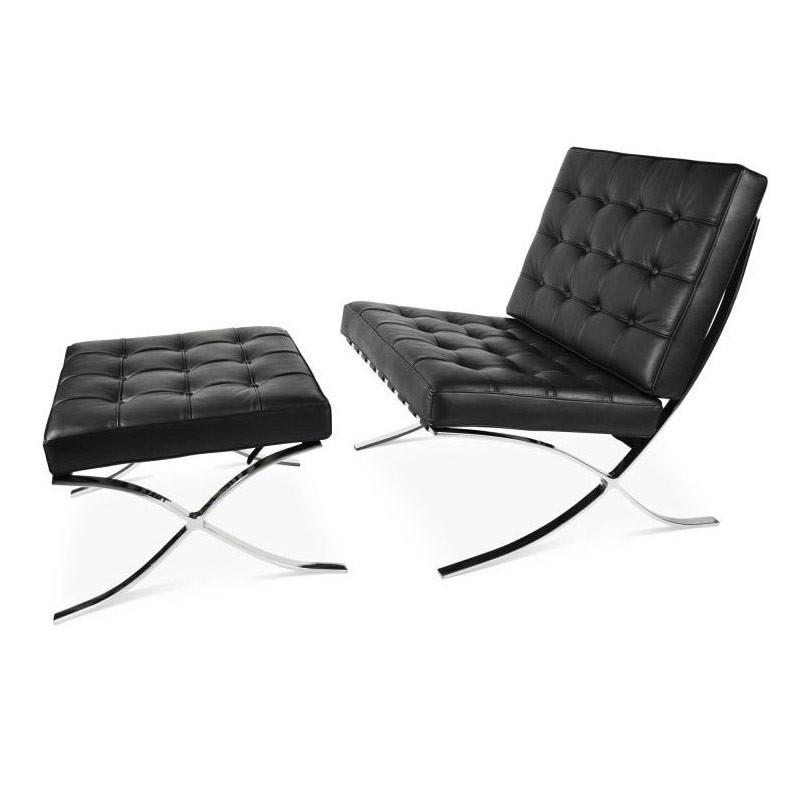 Barcelona Stoel Zwart Leer.Barcelona Chair Set Zwart Premium